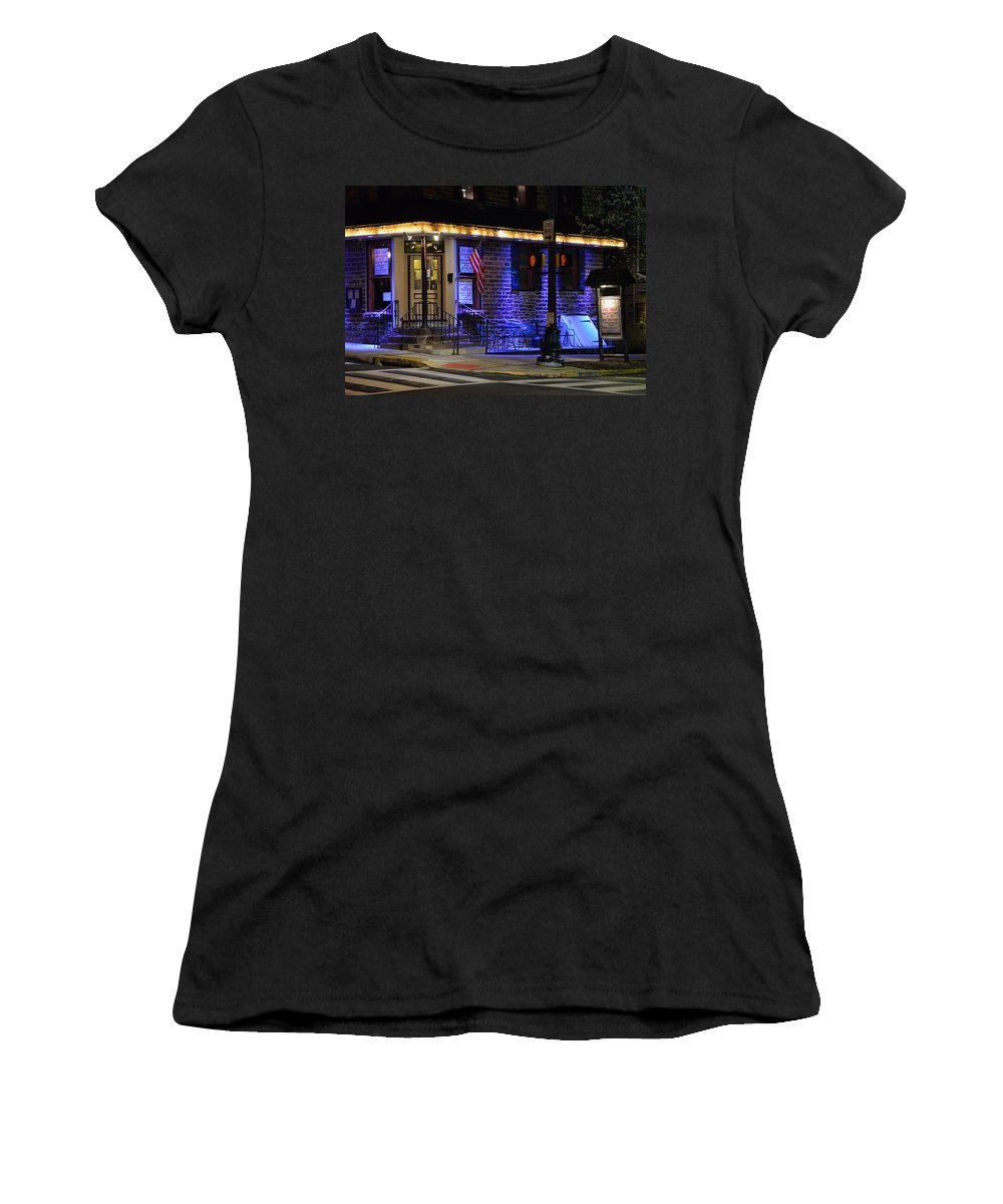 Bucks County Women's T-Shirt (Athletic Fit) featuring the photograph Black Horse Tavern by William Jobes