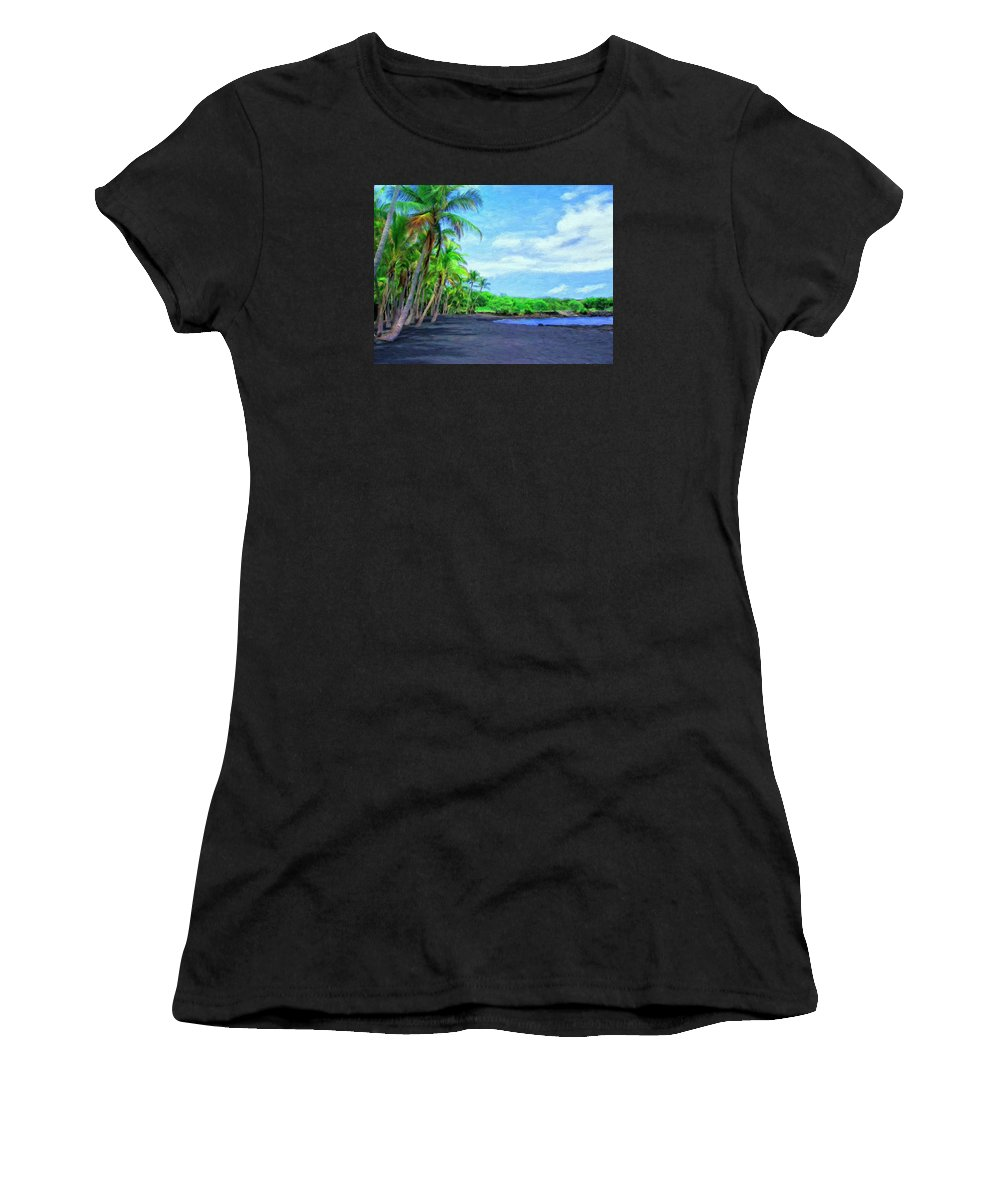 Black Sand Beach Women's T-Shirt featuring the painting Black Sand Beach At Punaluu by Dominic Piperata