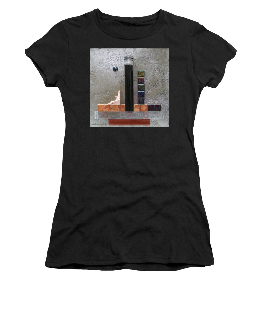 Assemblage Women's T-Shirt (Athletic Fit) featuring the relief Black Tower by Elaine Booth-Kallweit
