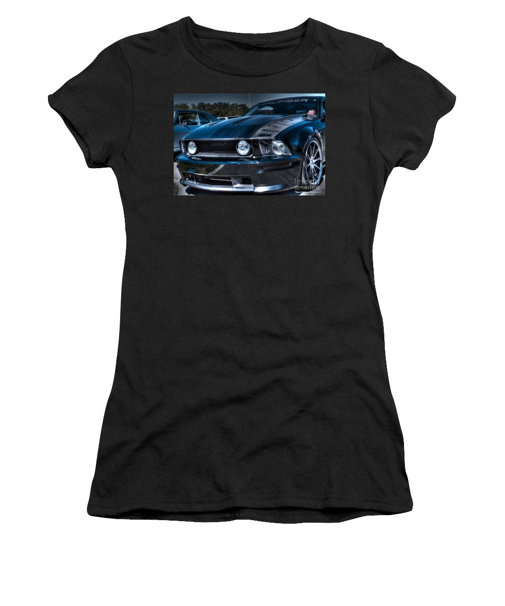 Truefiber Women's T-Shirt featuring the photograph Black Truefiber Mustang by Tommy Anderson