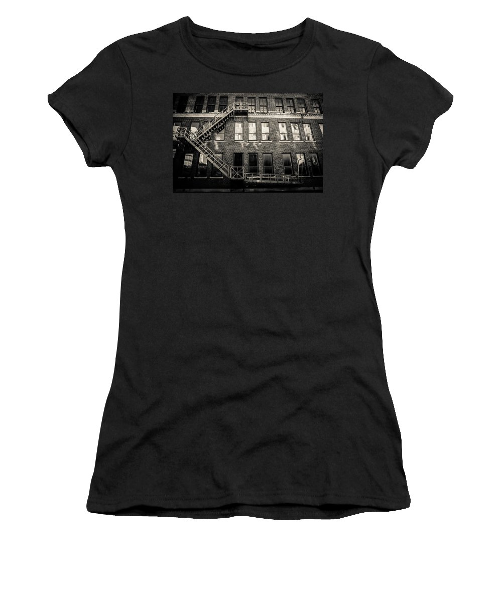 Architecture Women's T-Shirt (Athletic Fit) featuring the photograph Blackened Fire Escape by Melinda Ledsome