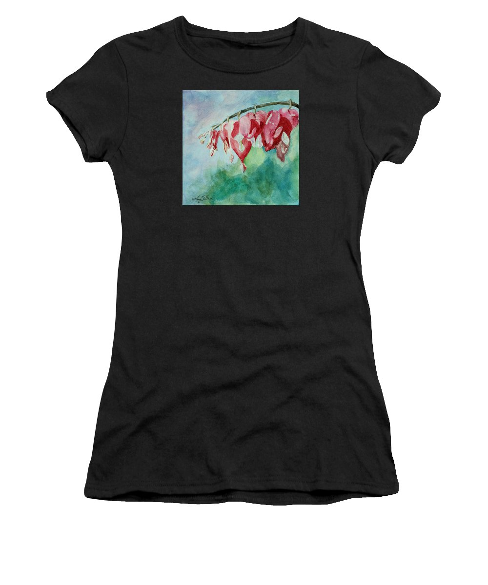 Watercolor Women's T-Shirt (Athletic Fit) featuring the painting Bleeding Hearts by Mary Benke