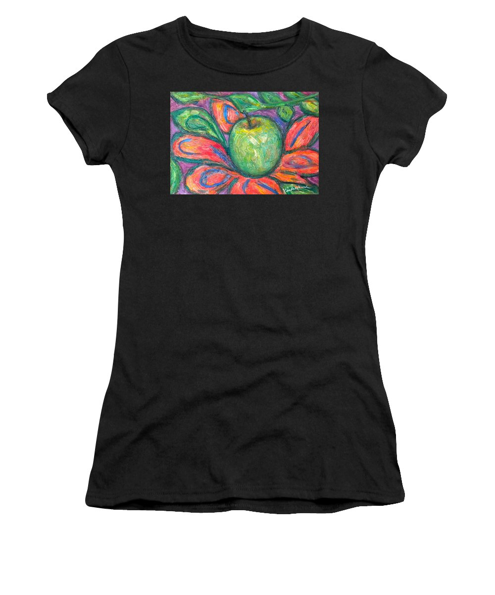 Apple Paintings Women's T-Shirt (Athletic Fit) featuring the painting Blooming Apple by Kendall Kessler