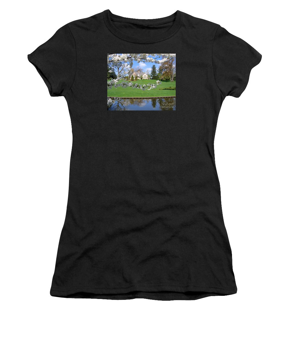 Spring Women's T-Shirt (Athletic Fit) featuring the photograph Blossom-framed House by Ann Horn