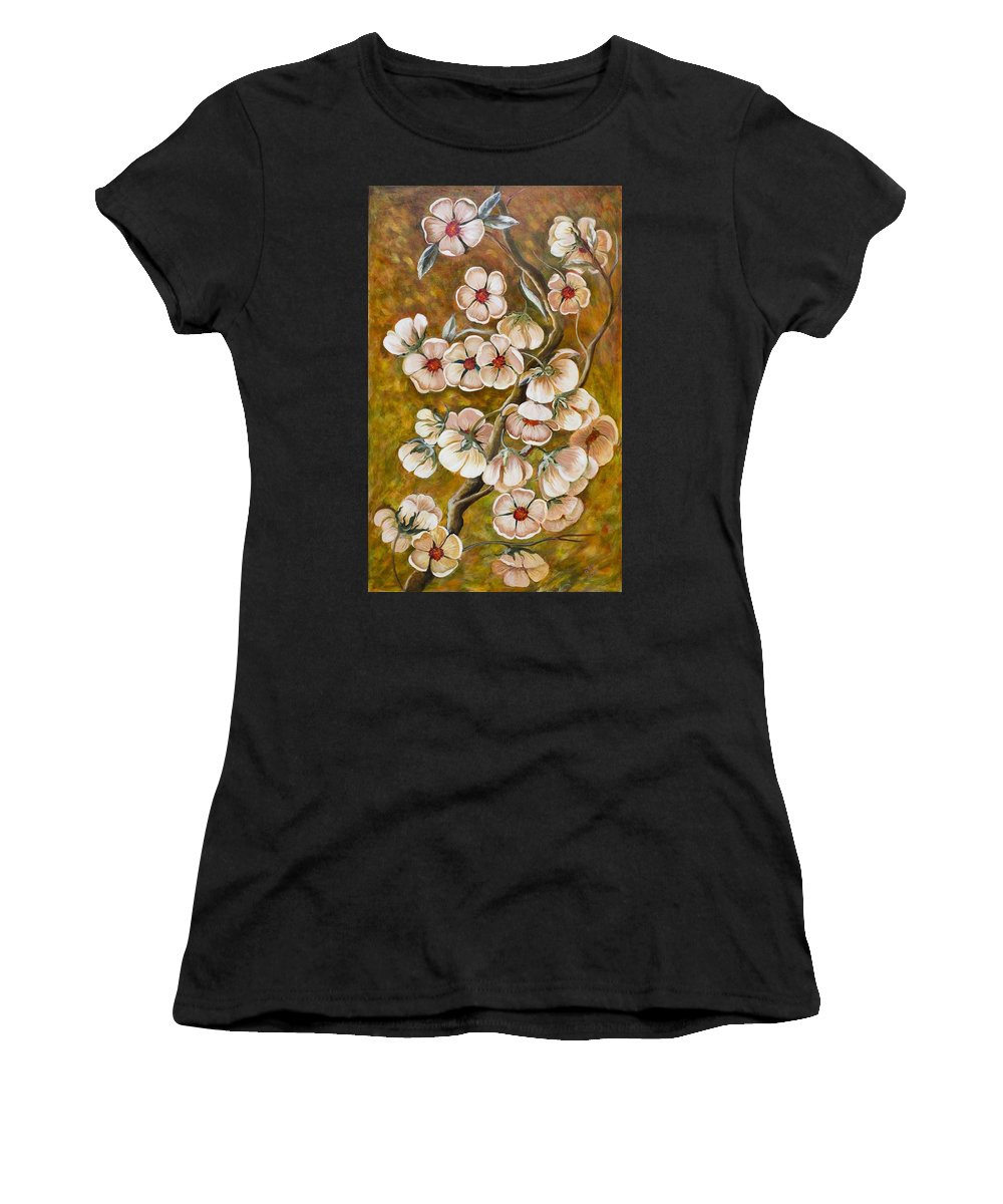 Flowers Women's T-Shirt (Athletic Fit) featuring the painting Blossom Time by Gladys Berchtold
