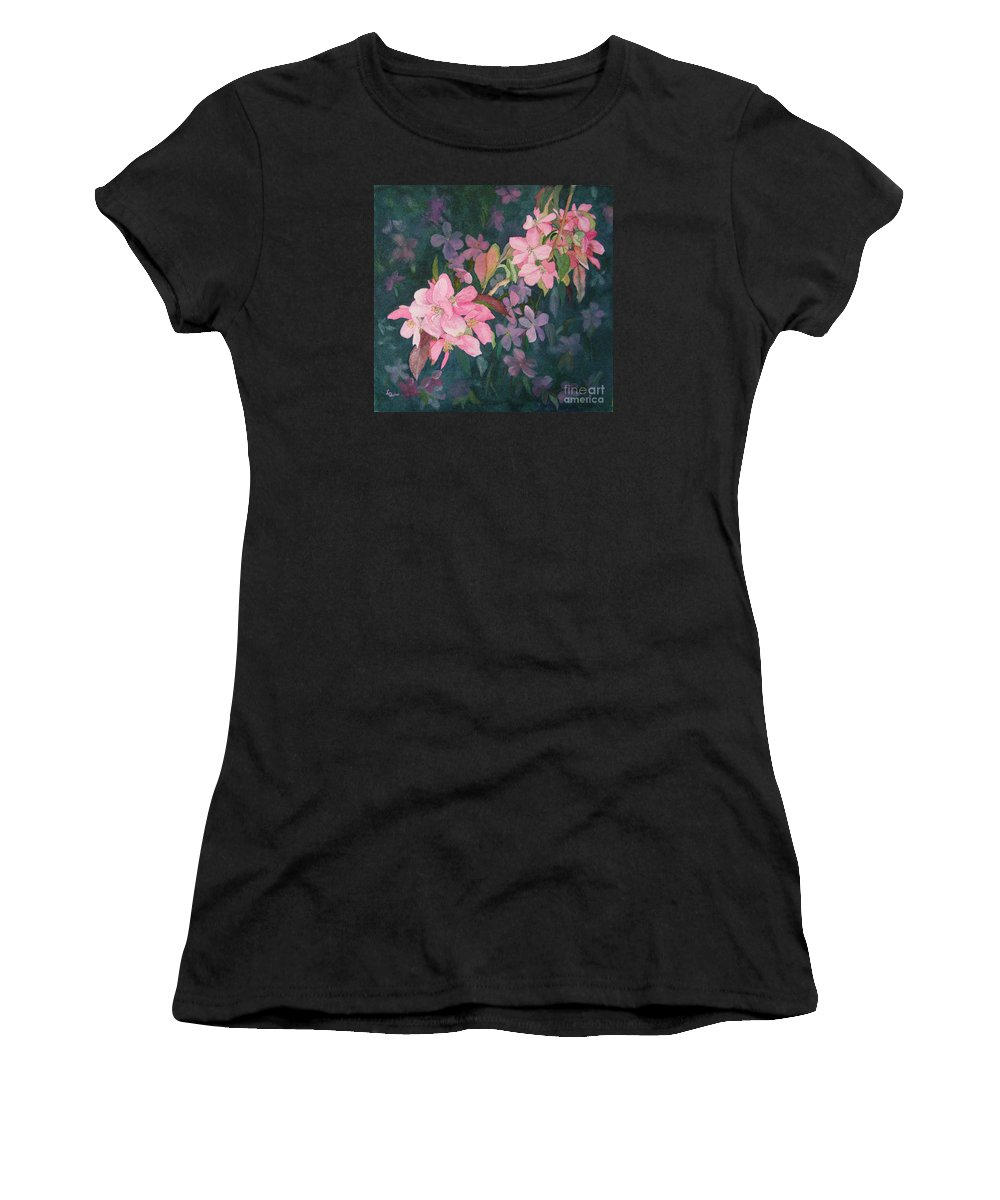 Blossoms Women's T-Shirt featuring the painting Blossoms For Sally by Lynn Quinn