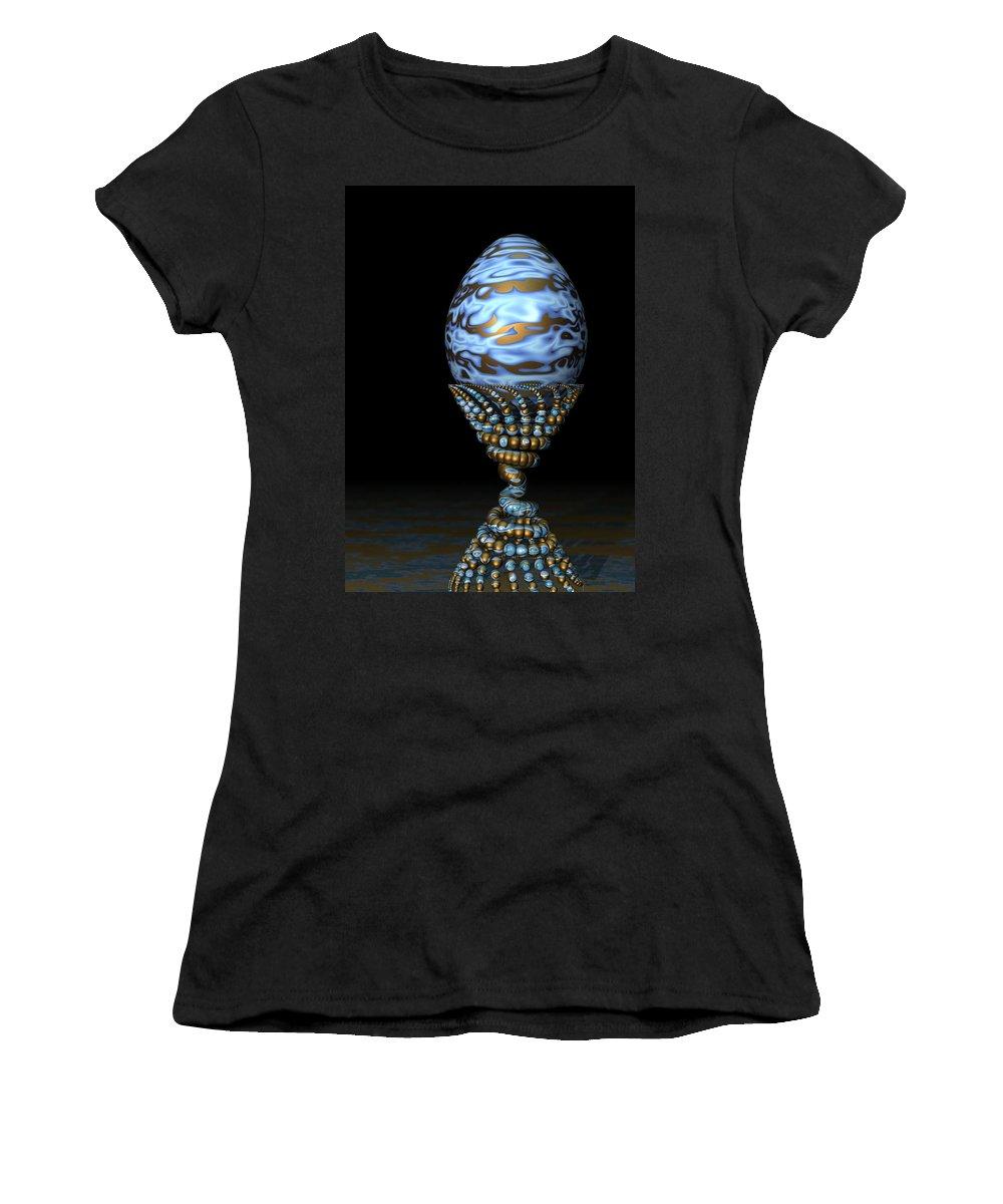 Xenodream Women's T-Shirt featuring the digital art Blue And Golden Egg by Hakon Soreide