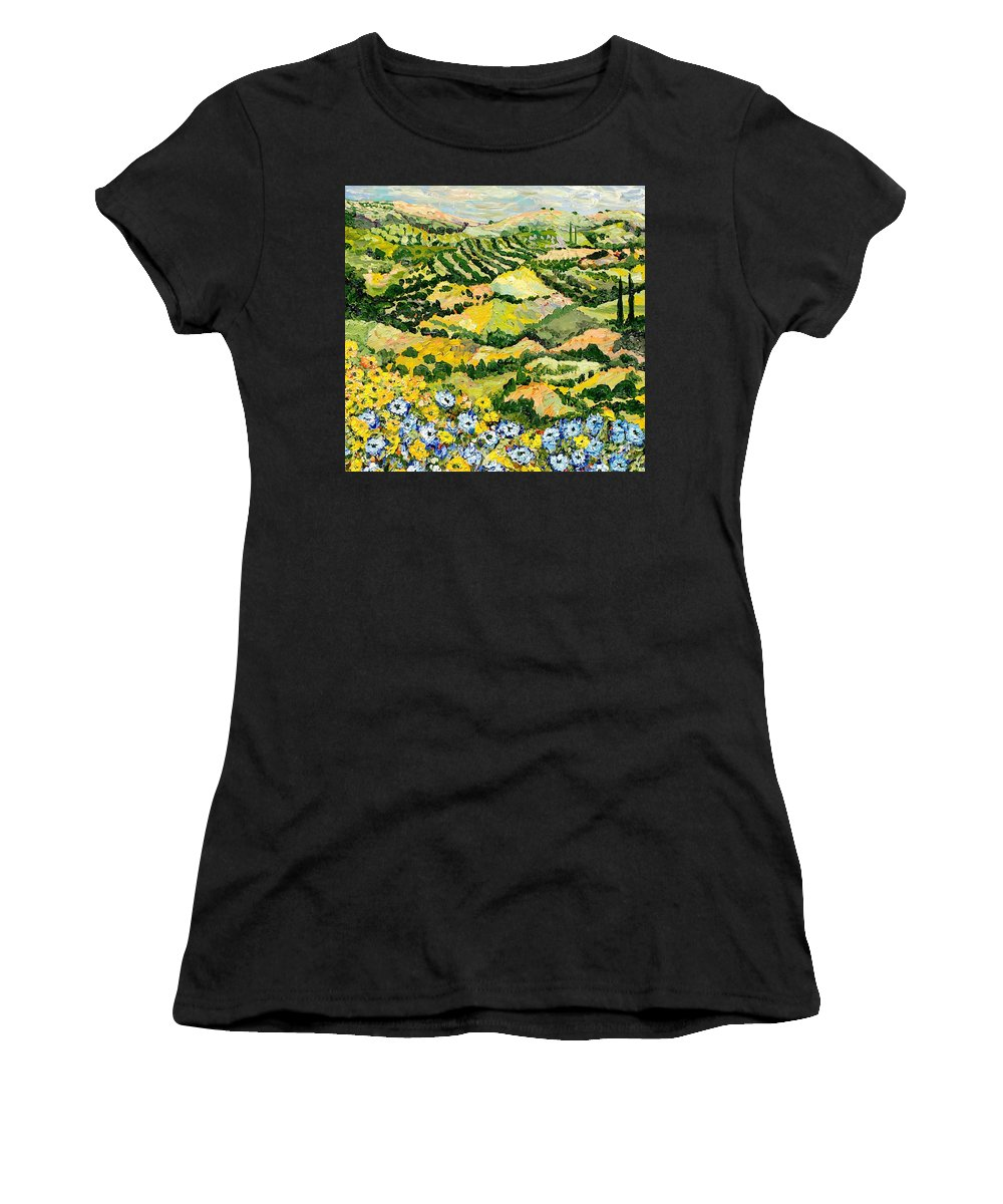 Landscape Women's T-Shirt (Athletic Fit) featuring the painting Blue And Yellow by Allan P Friedlander