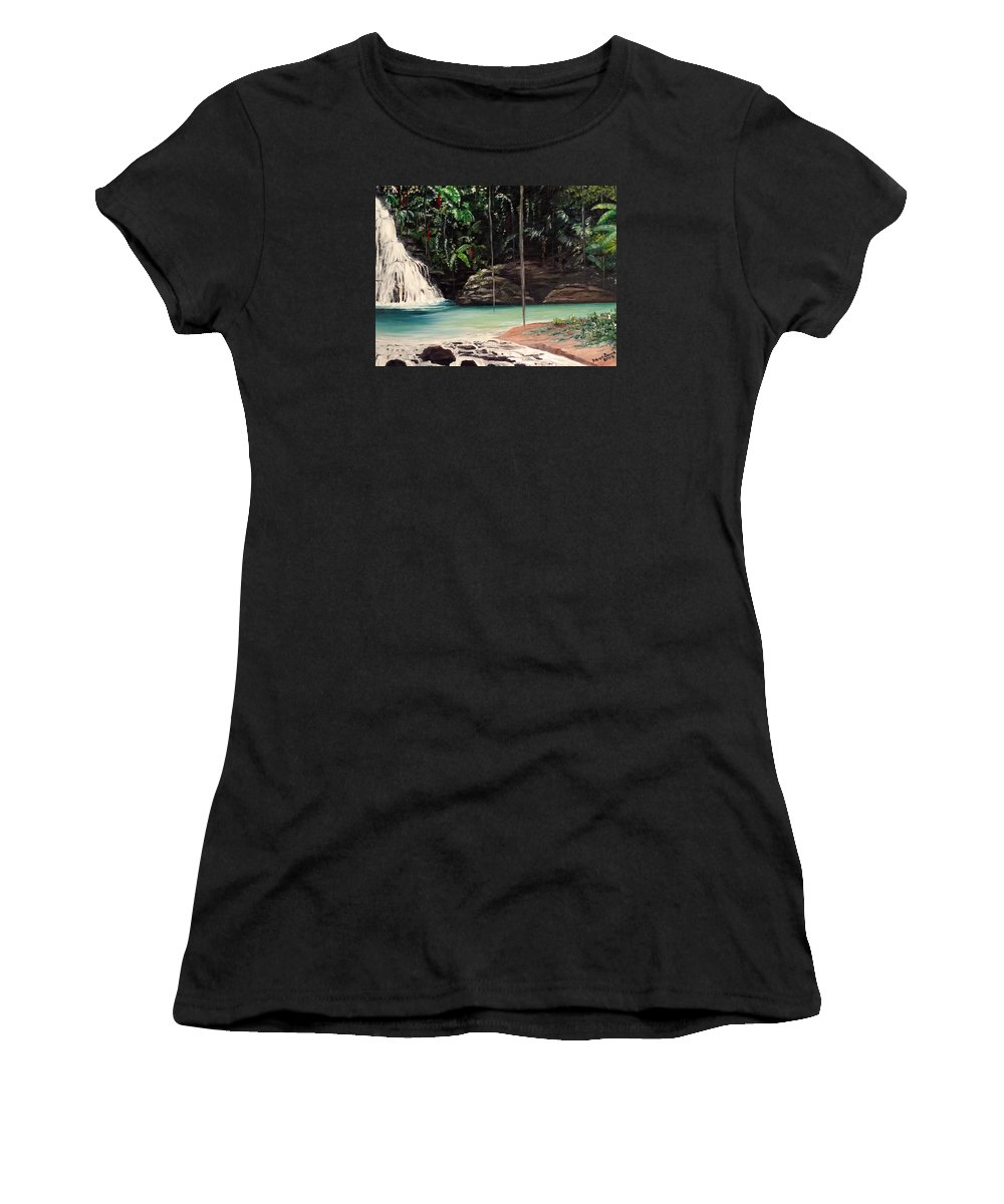 Tropical Waterfall Women's T-Shirt (Athletic Fit) featuring the painting Blue Basin by Karin Dawn Kelshall- Best