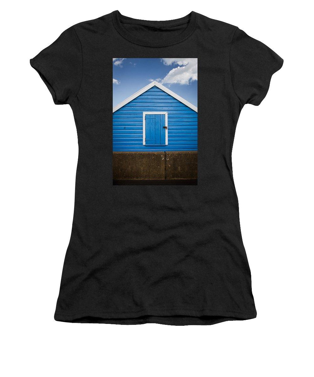 Beach Hut Women's T-Shirt featuring the photograph Blue Beach Hut by Dayne Reast