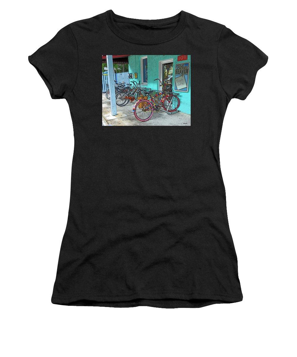 Blue Heaven Key West Women's T-Shirt featuring the photograph Blue Heaven Key West Bicycles by Rebecca Korpita