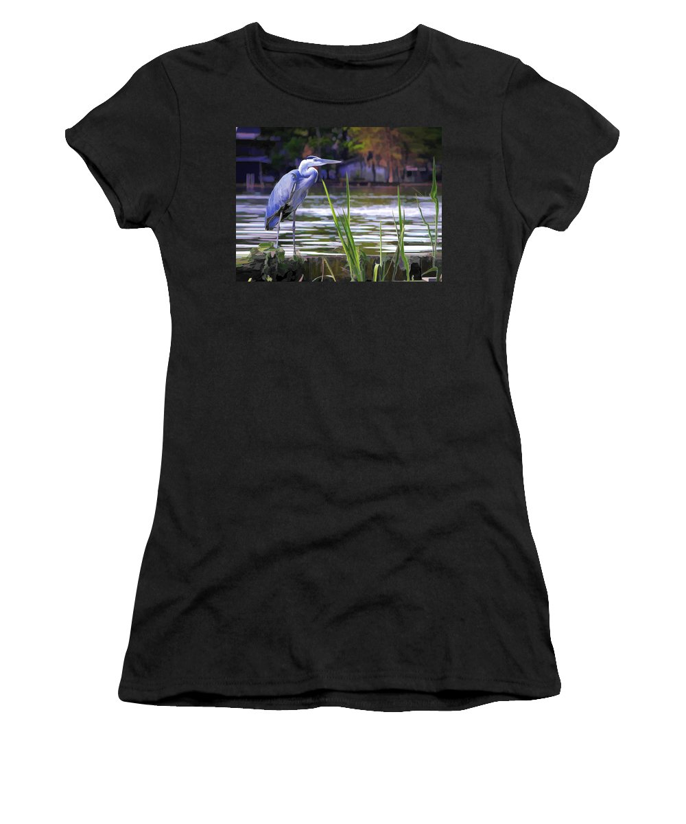 Bird Women's T-Shirt featuring the painting Blue Heron On The Bay by Elaine Plesser