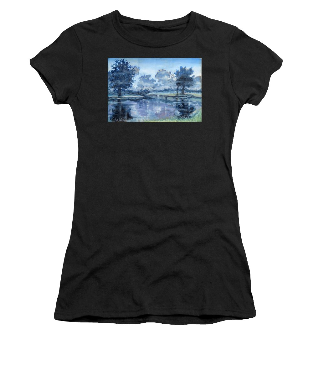 Art Women's T-Shirt (Athletic Fit) featuring the painting Blue Bayou by Carolyn Coffey Wallace