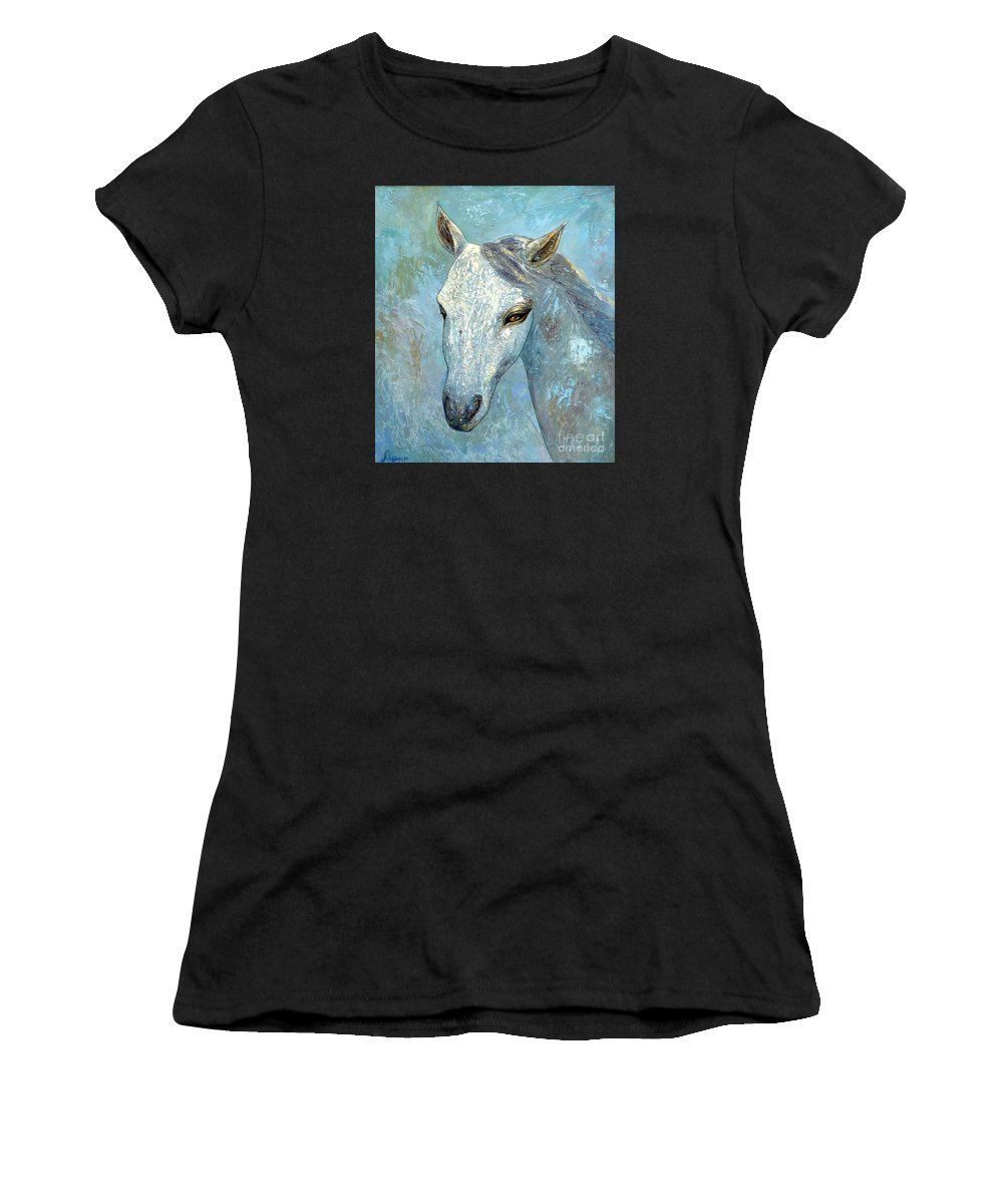 Oil Women's T-Shirt (Athletic Fit) featuring the painting Blue Horse by Shijun Munns