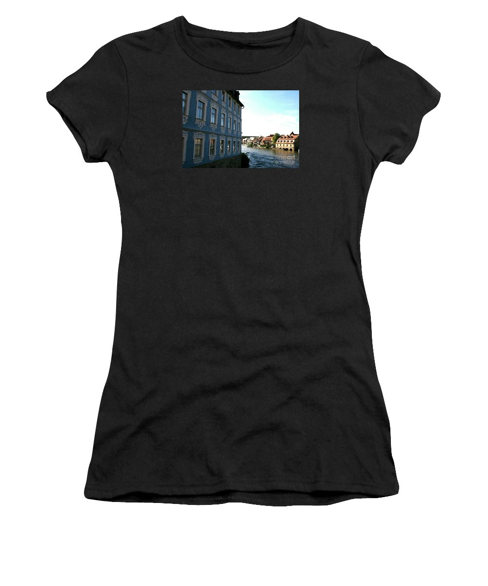 House Women's T-Shirt (Athletic Fit) featuring the photograph Blue House - Bamberg by Christiane Schulze Art And Photography