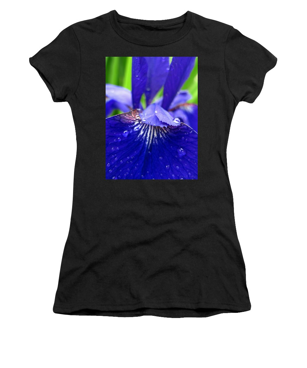 Nature Photography Women's T-Shirt (Athletic Fit) featuring the photograph Blue Iris Rain Drops by Kim Mobley