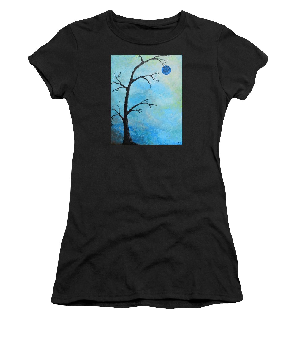 Tree Women's T-Shirt featuring the painting Blue Moon by Meganne Peck