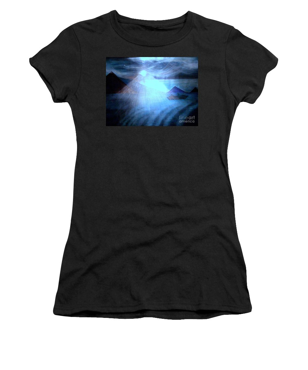 Moon Women's T-Shirt (Athletic Fit) featuring the painting Blue Moon Sailing by Kumiko Mayer