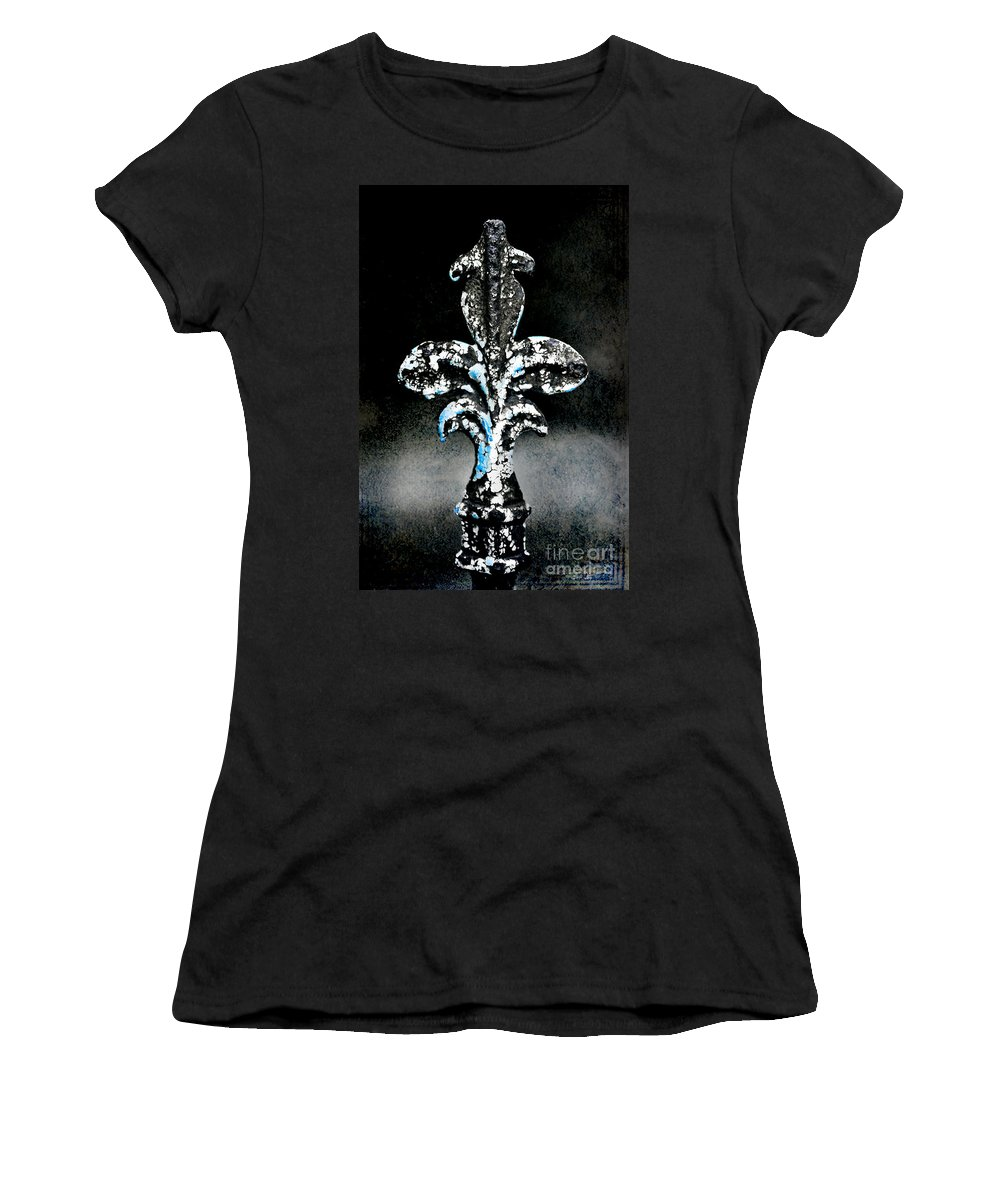 Wrought Iron Women's T-Shirt (Athletic Fit) featuring the photograph Blue On Black by Scott Pellegrin