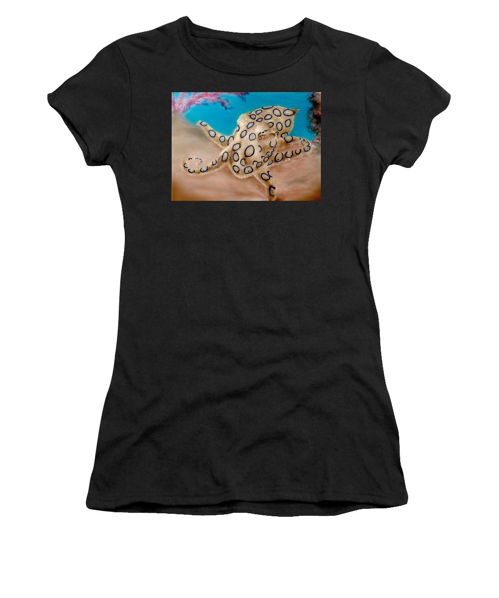 Blue Ringed Octopus Paintings Women's T-Shirt featuring the painting Blue Ringed Octopus I by Hank Bufkin