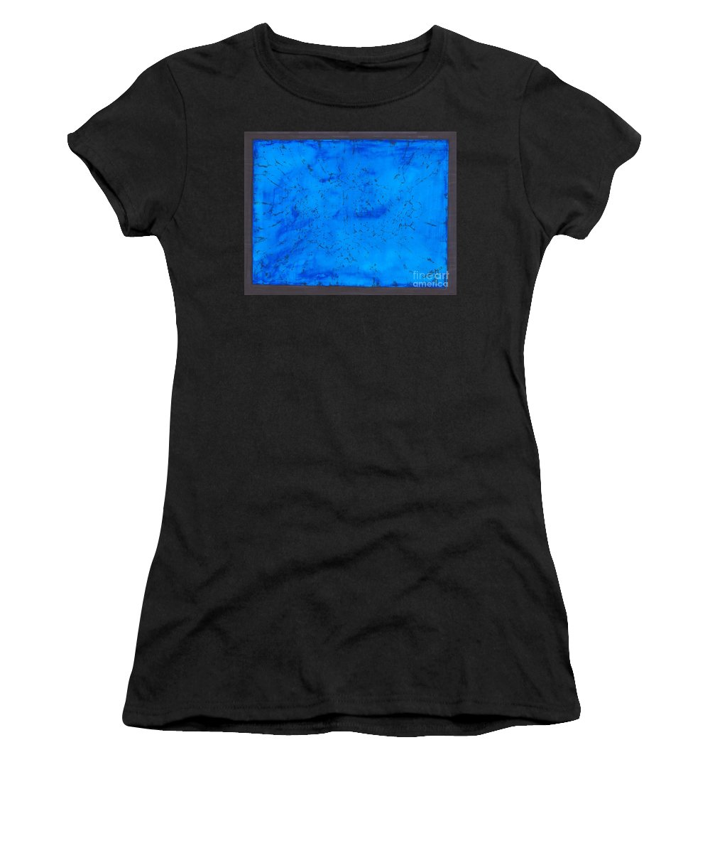 Abstract Women's T-Shirt featuring the painting Blue Velvet by Myrtle Joy