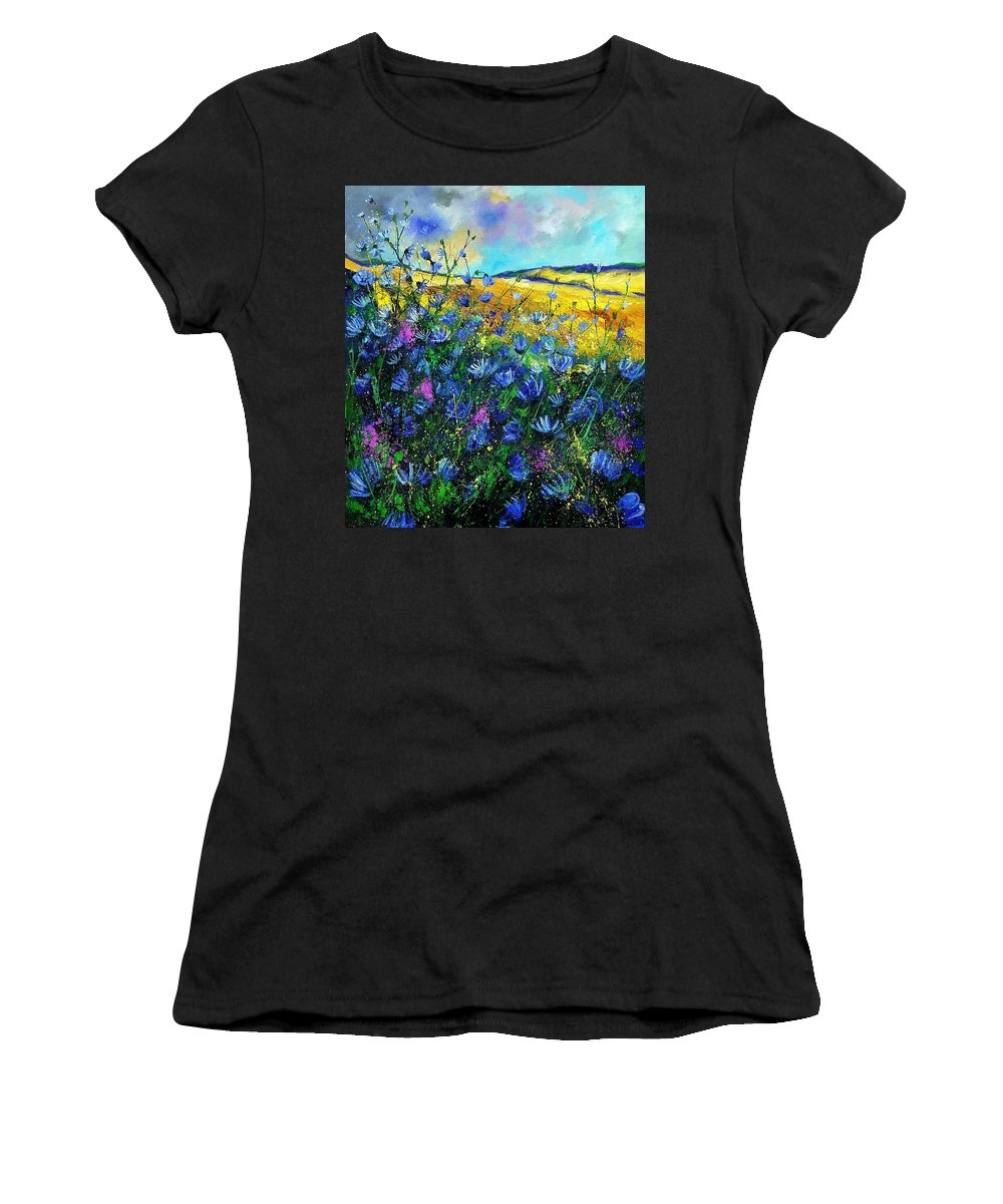 Flowers Women's T-Shirt (Athletic Fit) featuring the painting Blue Wild Chicorees by Pol Ledent