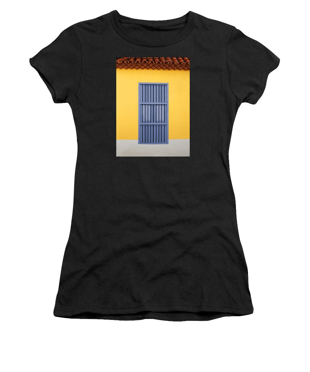 Window Women's T-Shirt (Athletic Fit) featuring the photograph Blue Window by Norman Pogson