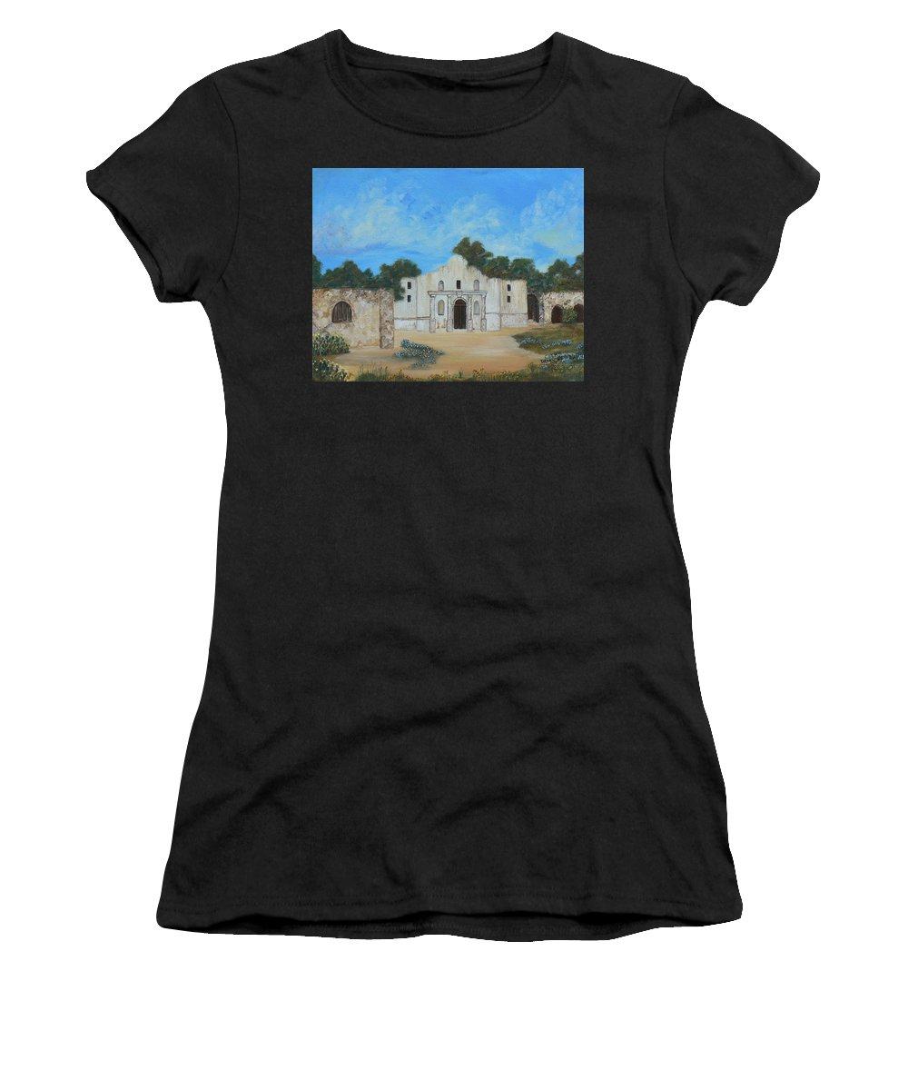 The Alamo. Bluebonnets. Landscape Women's T-Shirt featuring the painting Bluebonnets At The Alamo by Cheryl Damschen