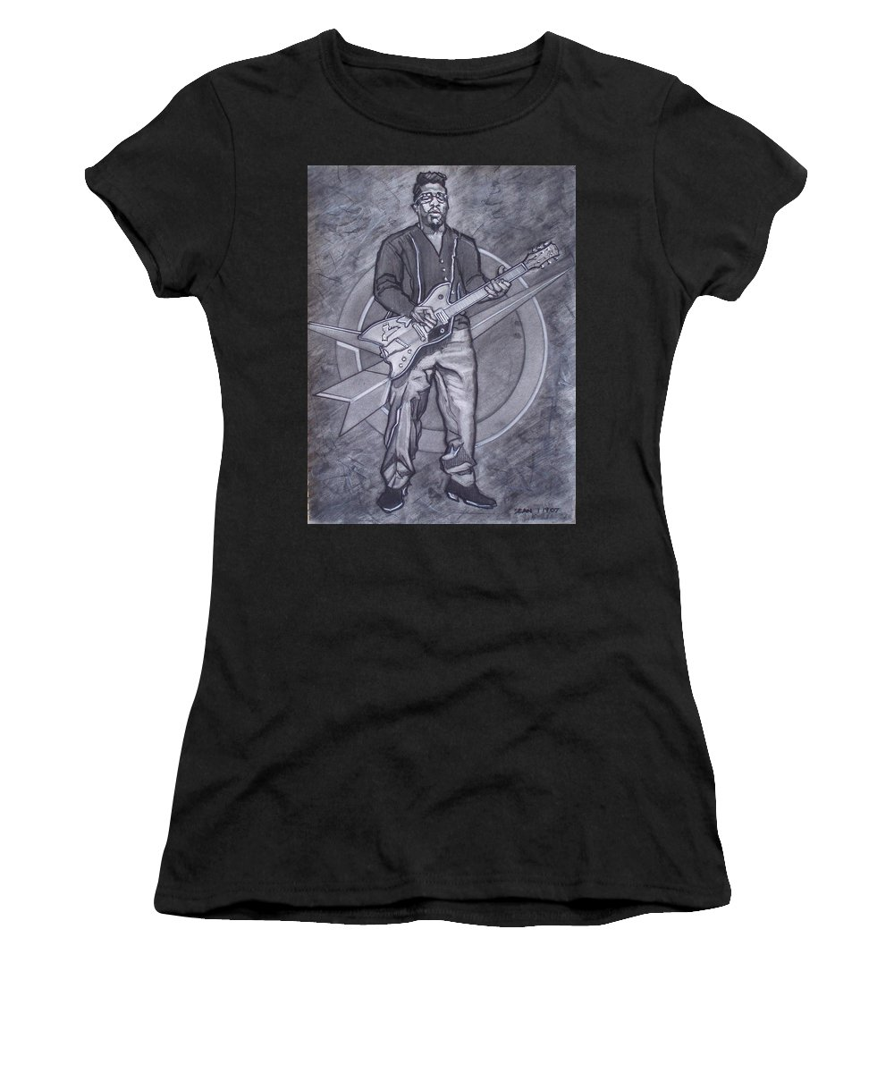 Texas;charcoal;king Of Rock;rock And Roll;music;1950s;blues;musician;funk;electric Guitar;marble;soul Women's T-Shirt featuring the drawing Bo Diddley - Have Guitar Will Travel by Sean Connolly