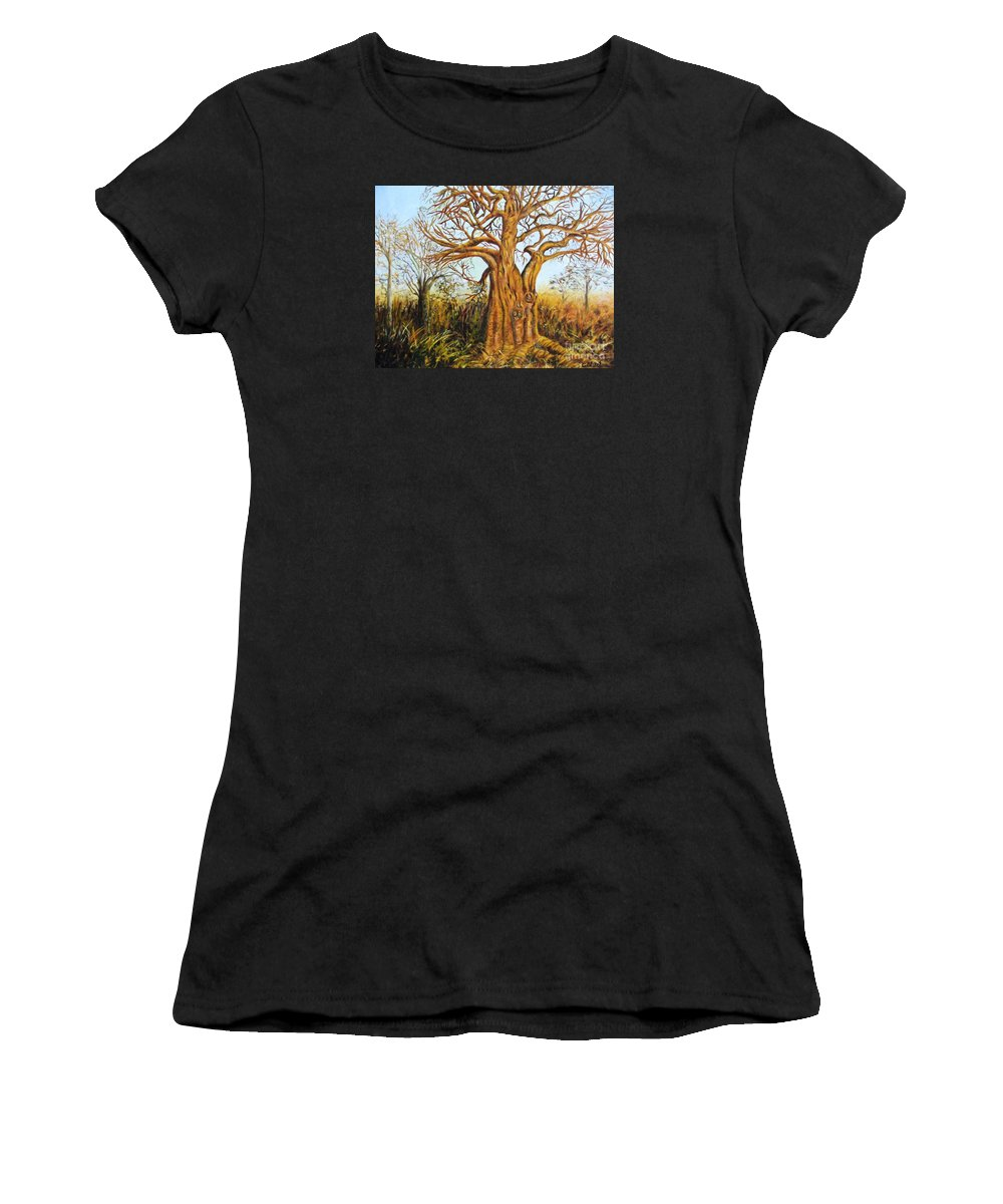 Trees Women's T-Shirt (Athletic Fit) featuring the painting Baobab Tree by Caroline Street