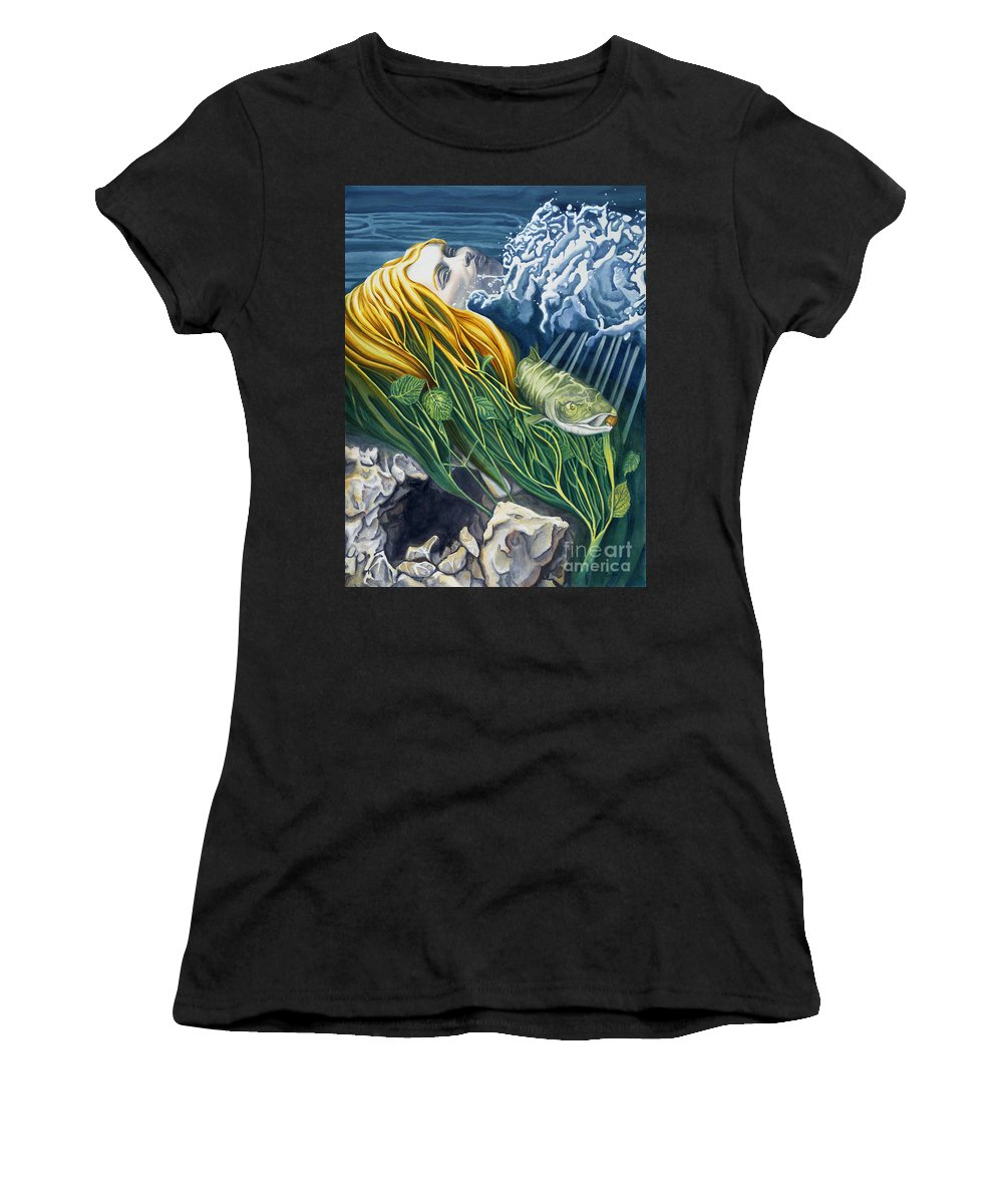 Boann Women's T-Shirt (Athletic Fit) featuring the painting Boann Transformation Of A Goddess by Do'an Prajna - Antony Galbraith