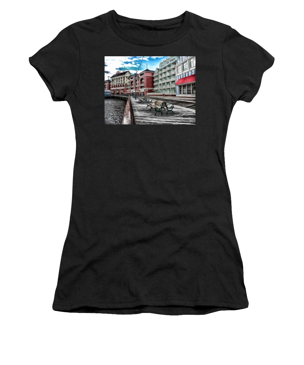 Boardwalk Women's T-Shirt featuring the photograph Boardwalk Early Morning by Thomas Woolworth