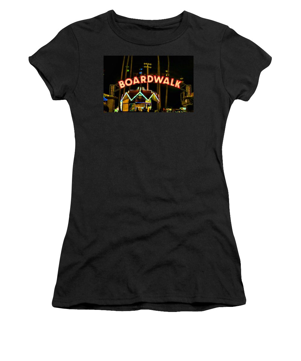 Streets Of Santa Cruz Women's T-Shirt (Athletic Fit) featuring the photograph Boardwalk by Digital Kulprits