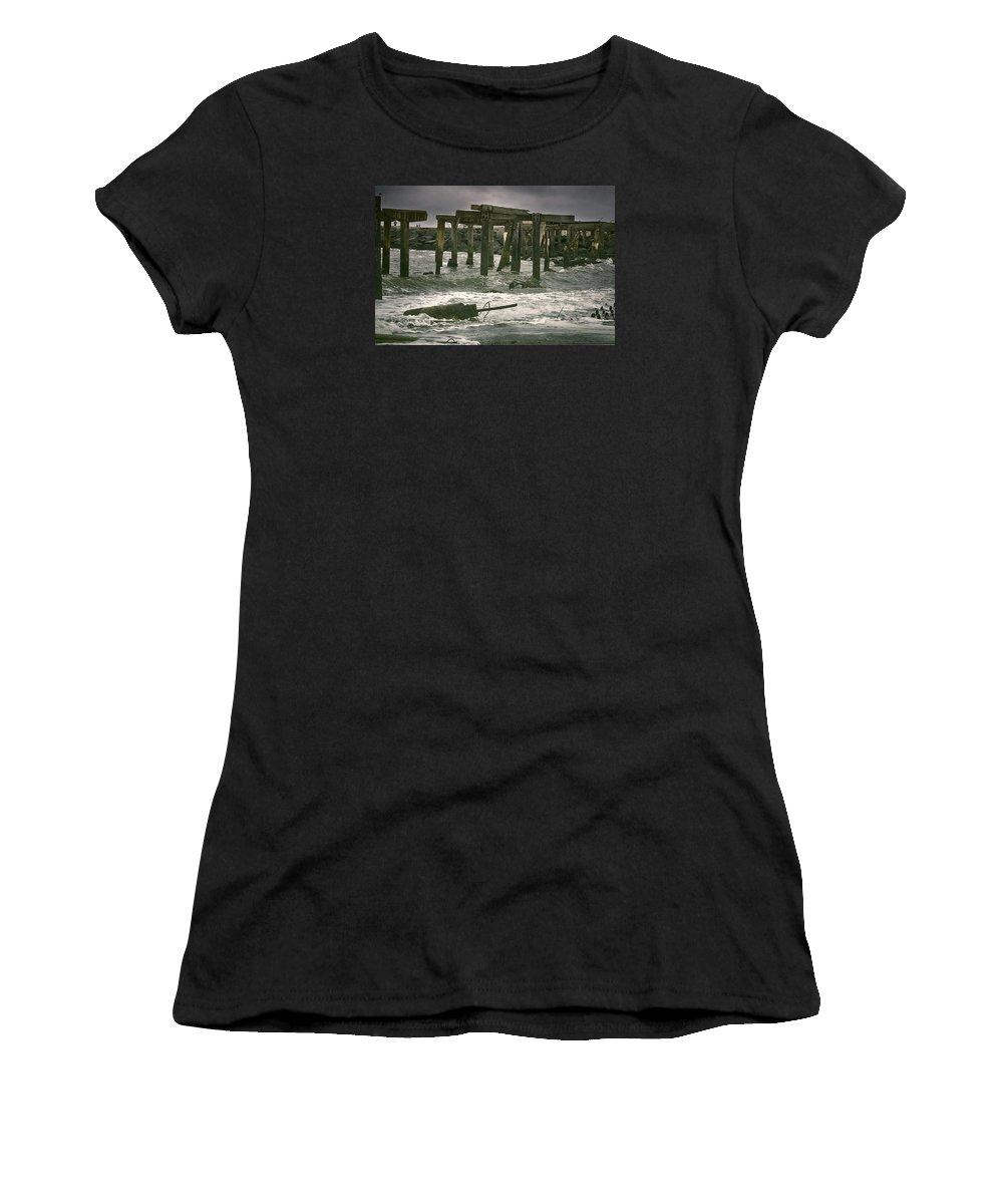 Joan Carroll Women's T-Shirt (Athletic Fit) featuring the photograph Boardwalk Remnants by Joan Carroll