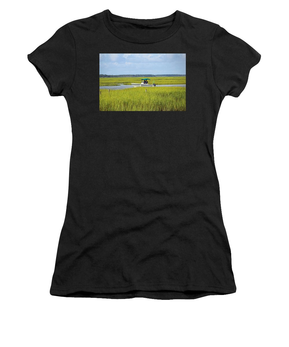 Murrells Inlet Women's T-Shirt (Athletic Fit) featuring the photograph Boat Ride In The Marsh by Cynthia Guinn
