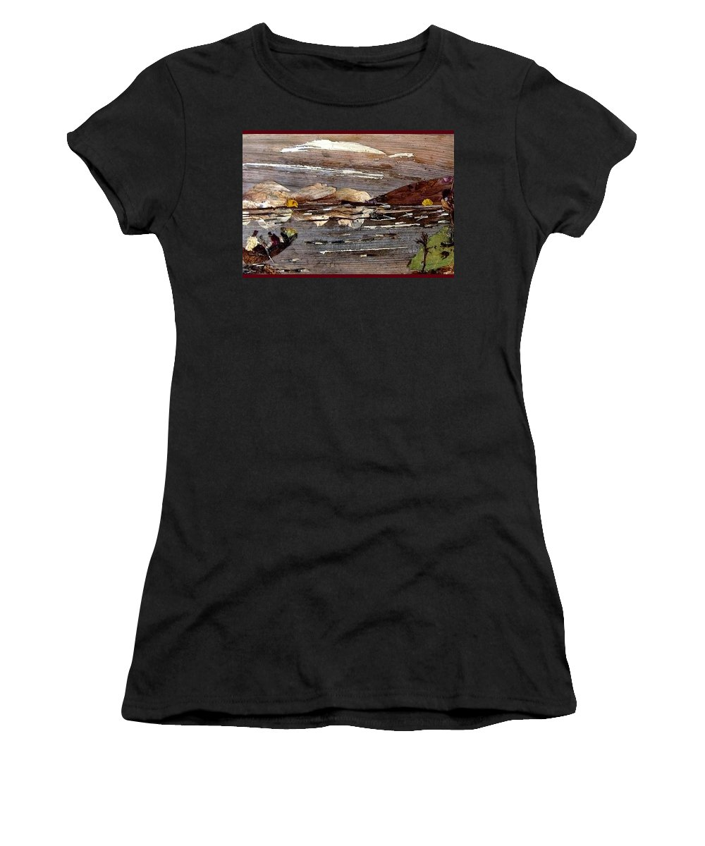 Boating Scene Women's T-Shirt (Athletic Fit) featuring the mixed media Boating In River by Basant Soni