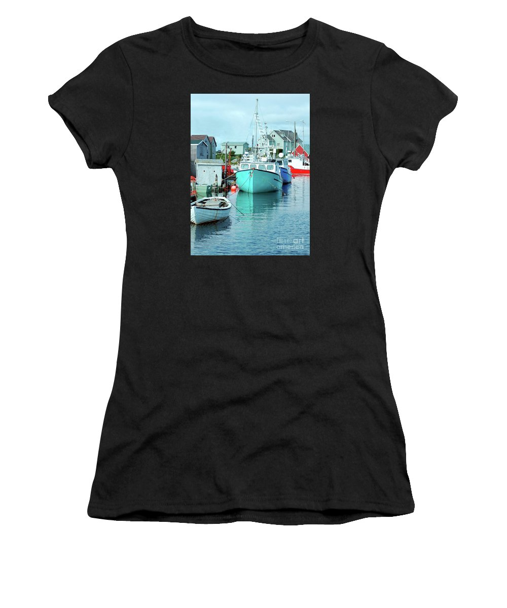 Boat Women's T-Shirt (Athletic Fit) featuring the photograph Boating In The Village by Kathleen Struckle