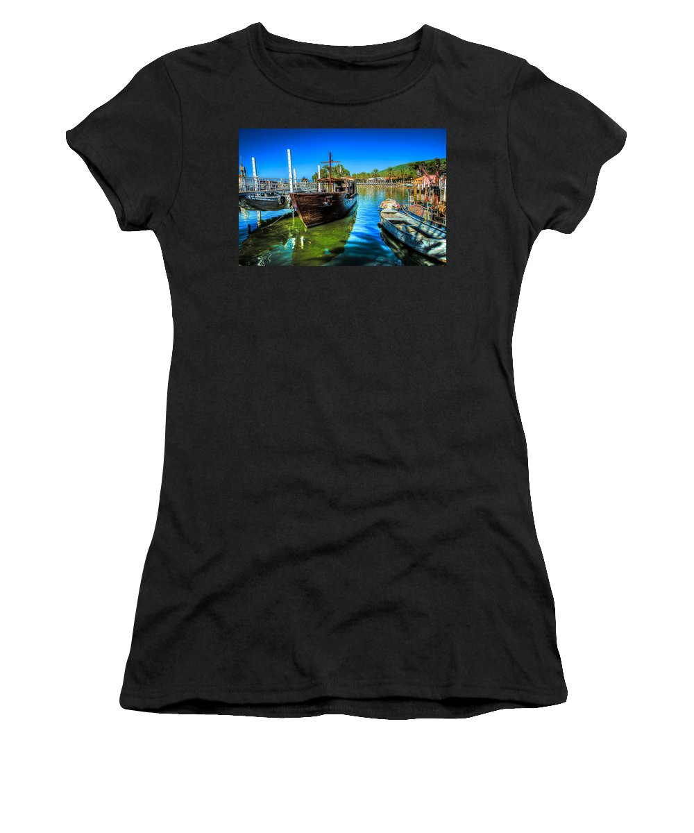Israel Women's T-Shirt (Athletic Fit) featuring the photograph Boats At Kibbutz On Sea Galilee by David Morefield