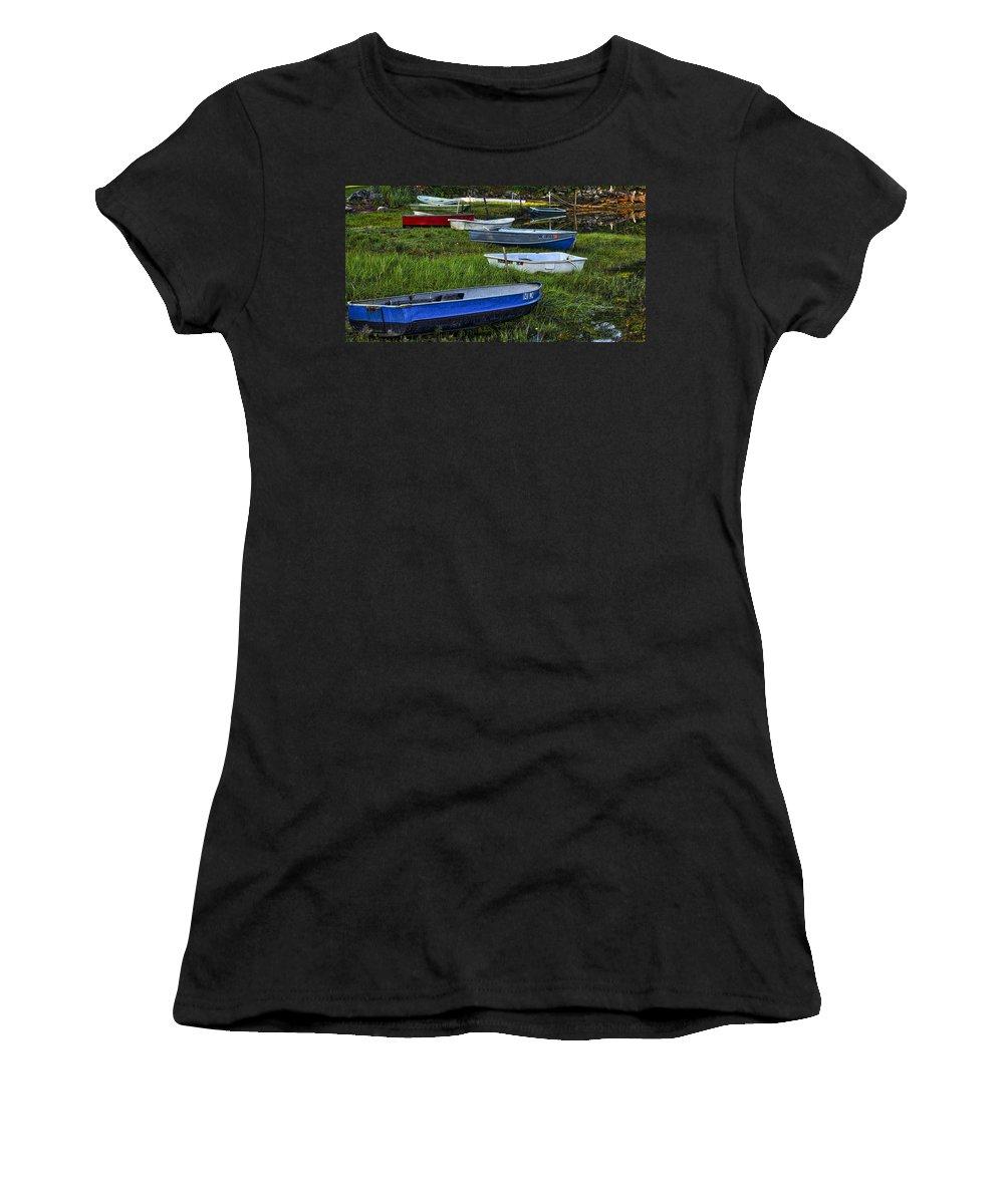 Cape Neddick Women's T-Shirt featuring the photograph Boats In Marsh - Cape Neddick - Maine by Steven Ralser