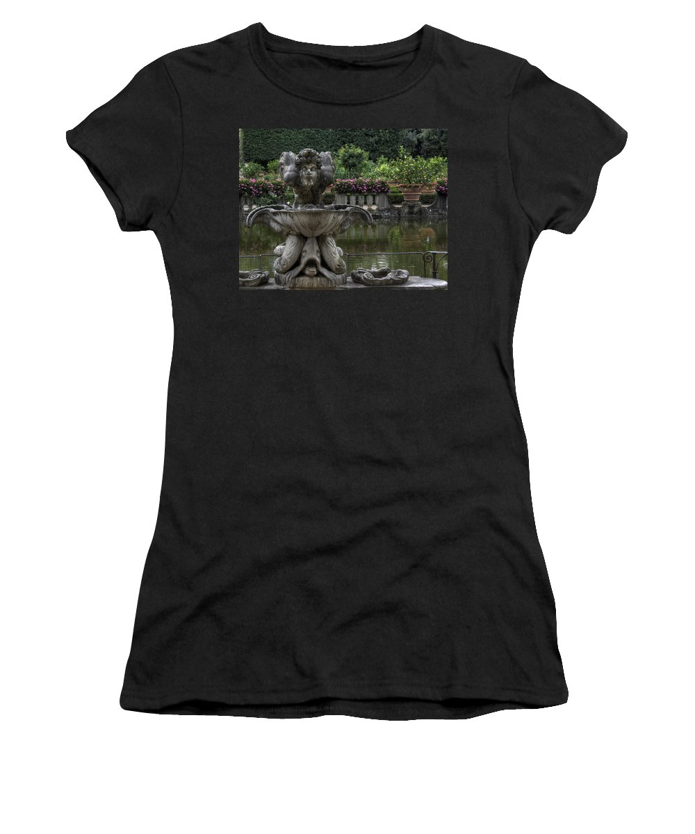 Boboli Garden Women's T-Shirt (Athletic Fit) featuring the photograph Boboli Fountain by Michael Kirk