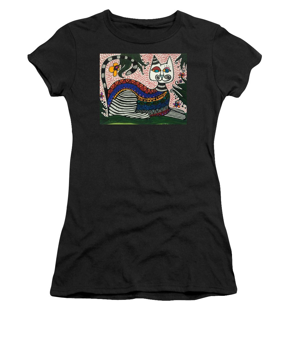 Whimsical Cat Women's T-Shirt (Athletic Fit) featuring the painting Boho Cat And Flowers by Sandra Perez-Ramos
