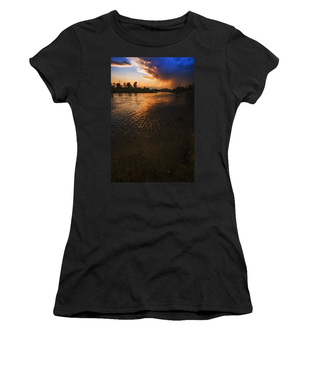 Boise River Women's T-Shirt featuring the photograph Boise River Dramatic Sunset by Vishwanath Bhat