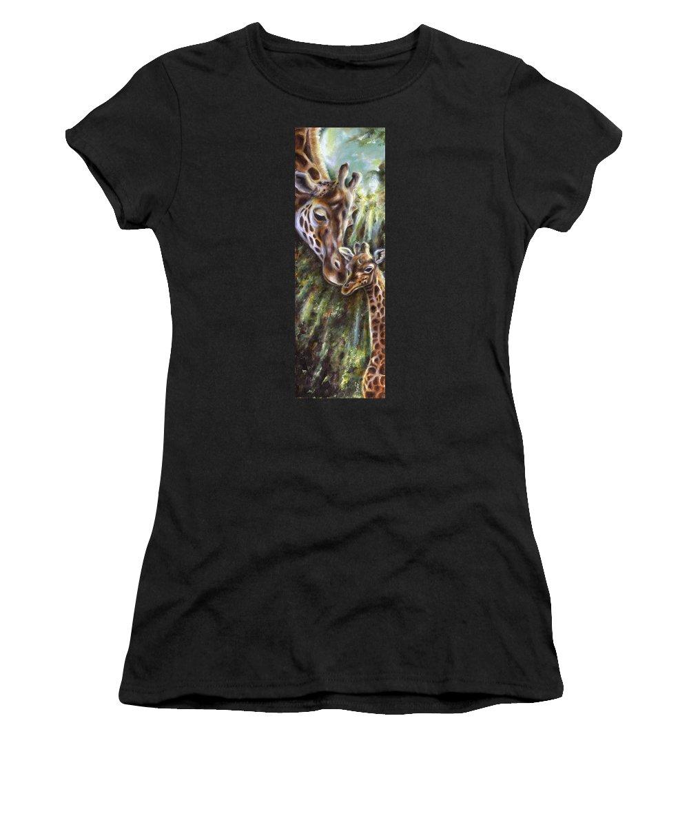 Animal Women's T-Shirt (Athletic Fit) featuring the painting Bond by Hiroko Sakai