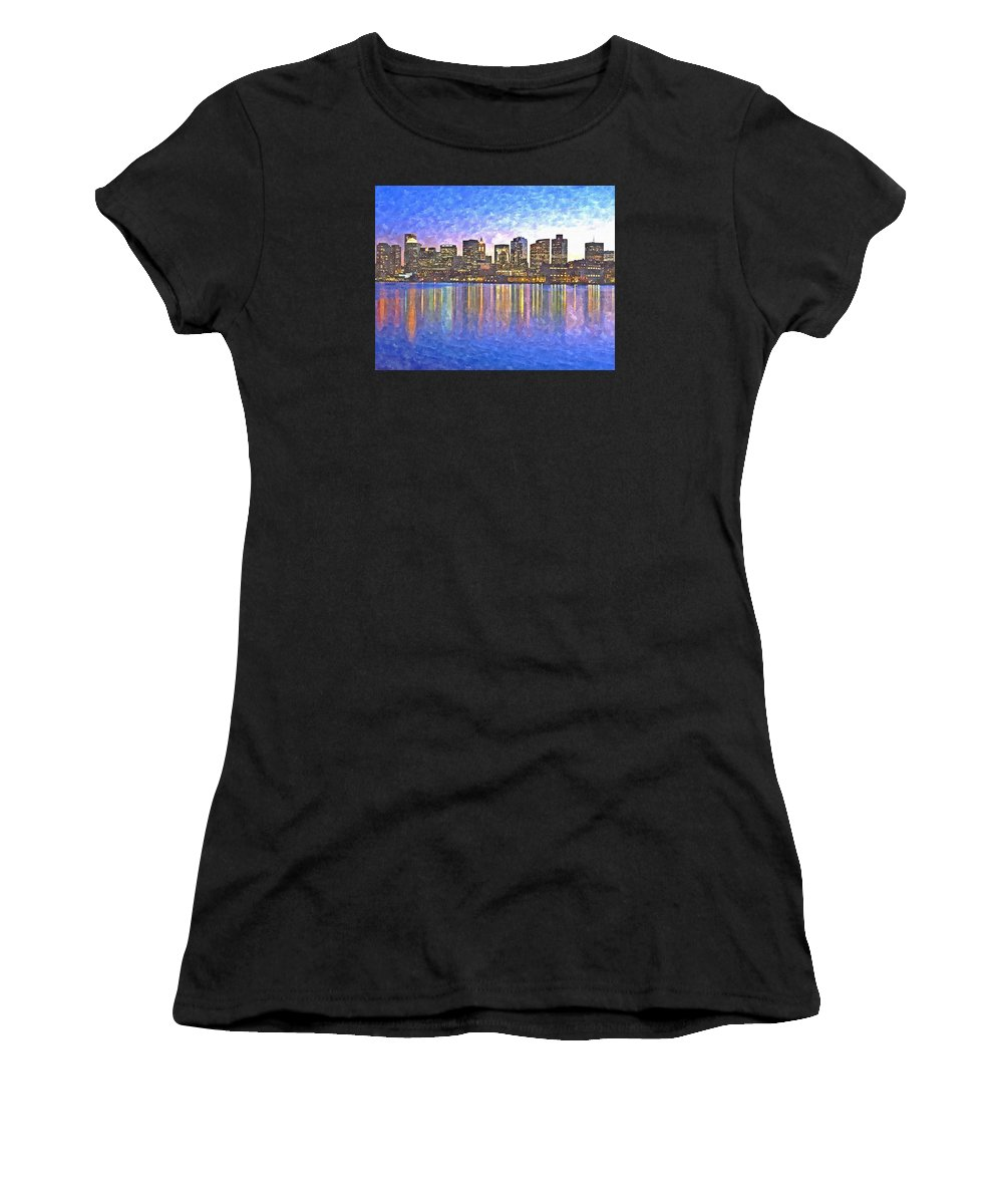 Boston Women's T-Shirt (Athletic Fit) featuring the painting Boston Skyline By Night by Rachel Niedermayer