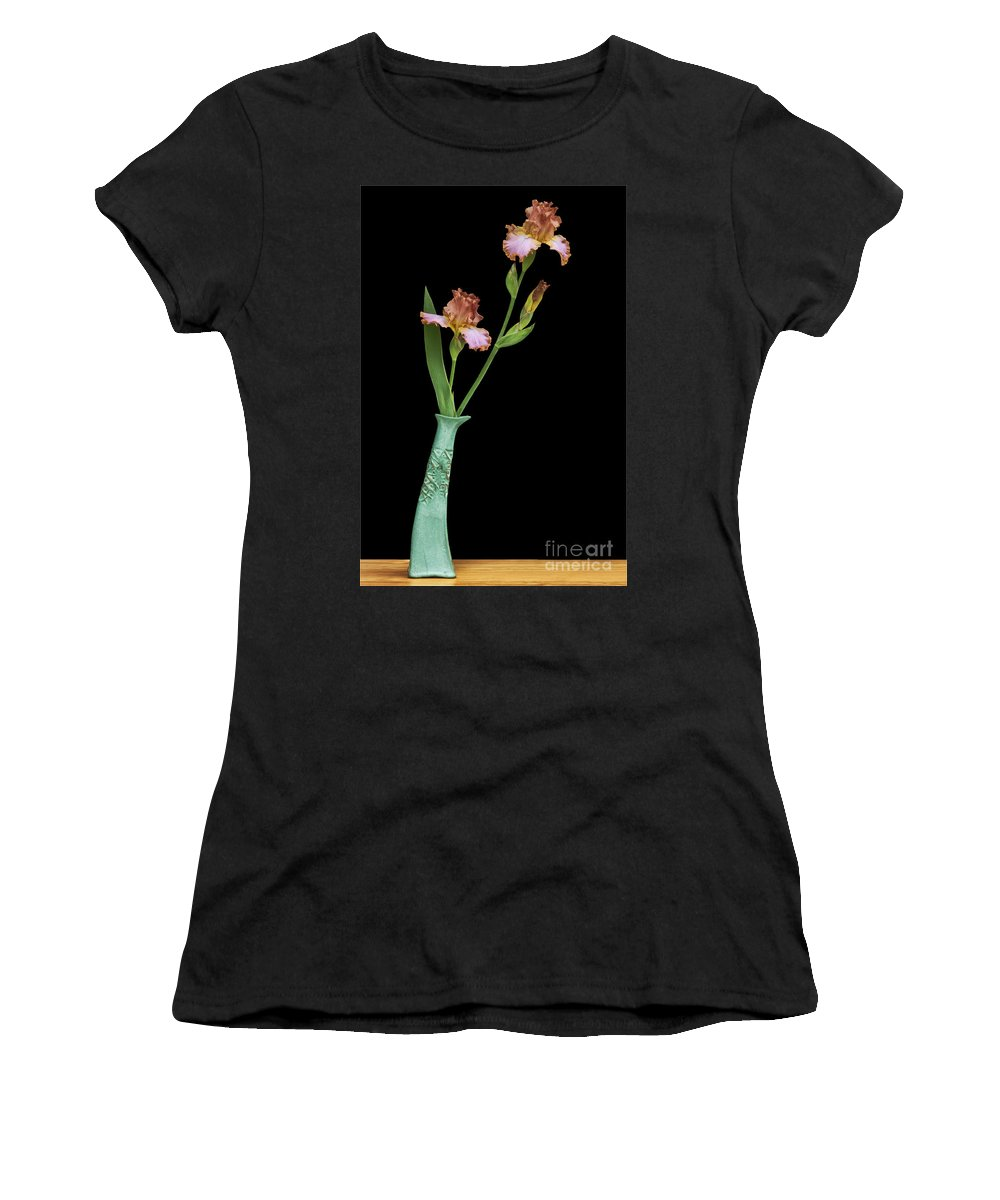 Bottle Women's T-Shirt featuring the photograph Bottle Of Curiosity With Iris by Nikolyn McDonald