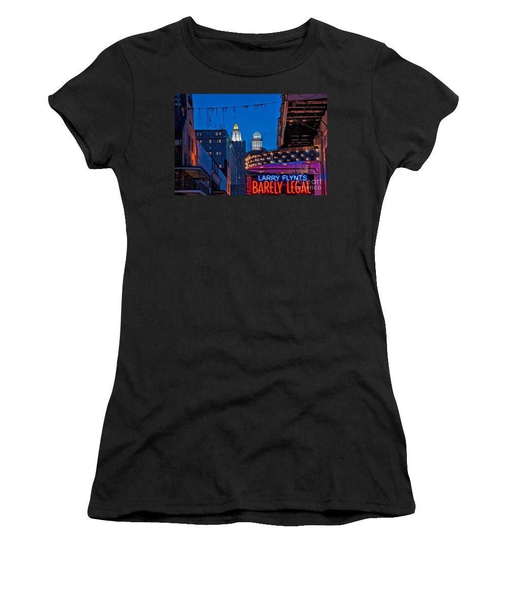 Spires Women's T-Shirt featuring the photograph Bourbon Street And Cbd Lights by Kathleen K Parker