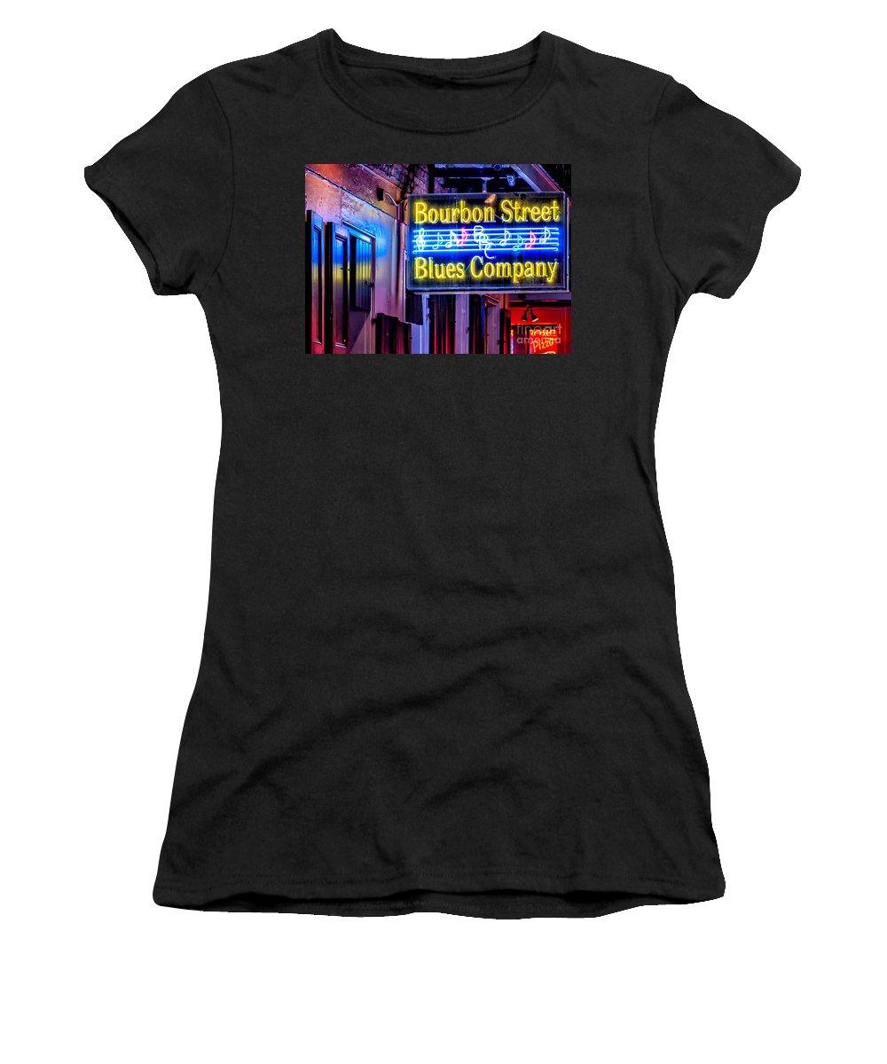 New Orleans Women's T-Shirt featuring the photograph Bourbon Street Blues by Kathleen K Parker