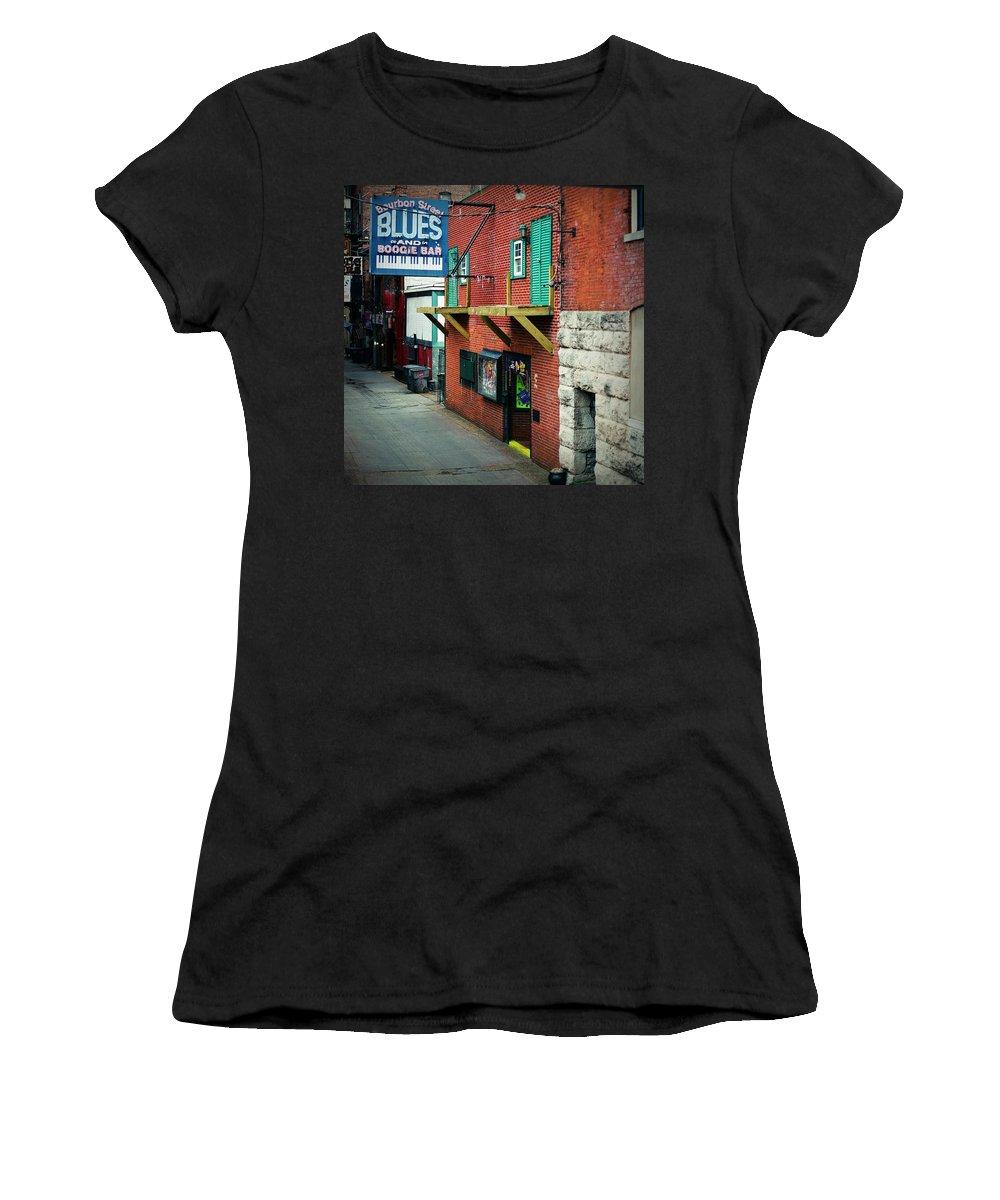 Nashville Women's T-Shirt (Athletic Fit) featuring the digital art Bourbon Street Blues by Linda Unger