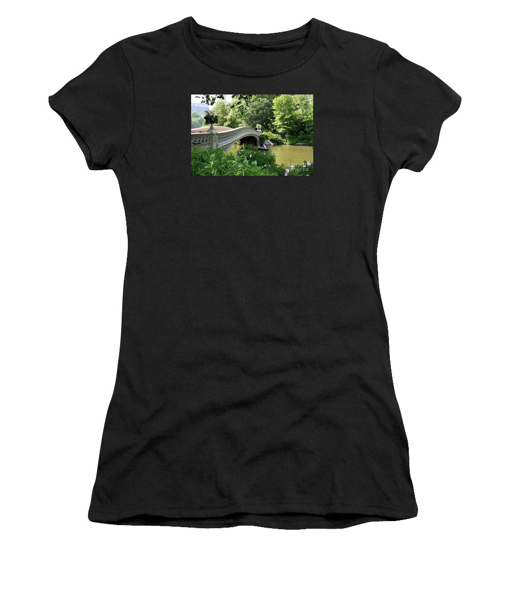 Bow Bridge Women's T-Shirt (Athletic Fit) featuring the photograph Bow Bridge And Rowboat Nyc by Christiane Schulze Art And Photography