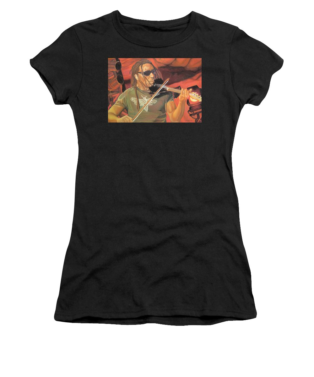 Boyd Tinsley Women's T-Shirt featuring the drawing Boyd Tinsley At Red Rocks by Joshua Morton